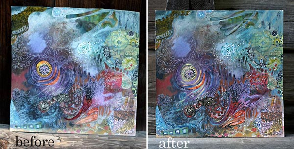 Before and after finishing art. By Peony and Parakeet.