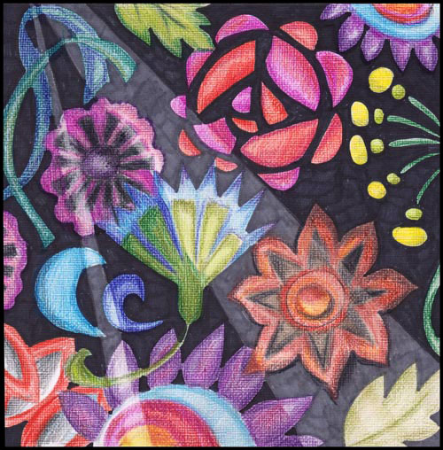 Mimicking embroidery with colored pencils by Peony and Parakeet