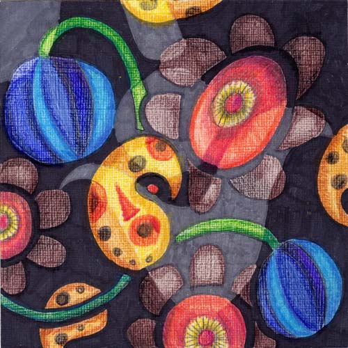 Enemy in the garden by Peony and Parakeet, mimicking embroidery with colored pencils