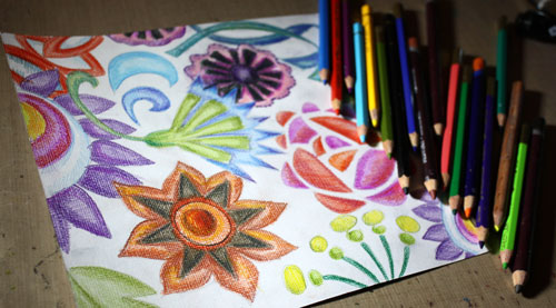 Coloring with colored pencils, by Peony and Parakeet