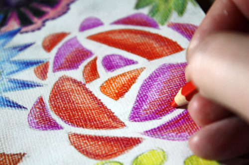 Mimicking Embroidery with Colored Pencils - Peony and Parakeet