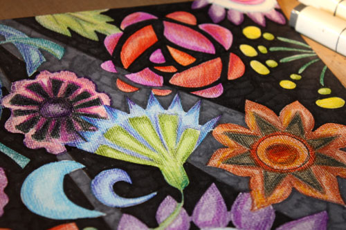 Mimicking embroidery with colored pencils, by Peony and Parakeet