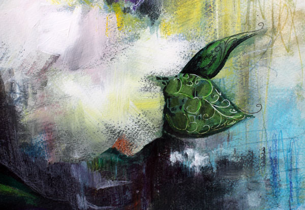 A detail of the painting Condolences, by Peony and Parakeet