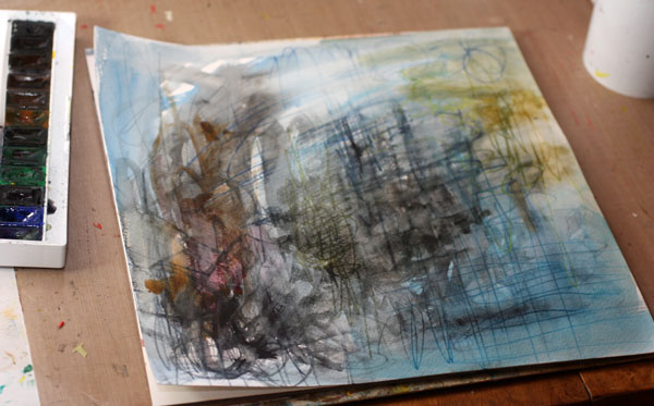 Starting a painting with watercolors, by Peony and Parakeet