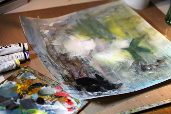 Adding acrylic paint over watercolor background, by Peony and Parakeet