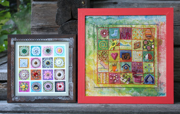 Samplers by Peony and Parakeet, using stamping and embroidery