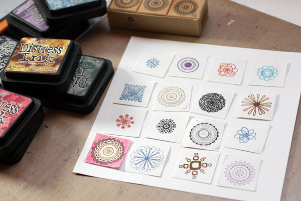 Phase photo of a stamped sampler, by Peony and Parakeet