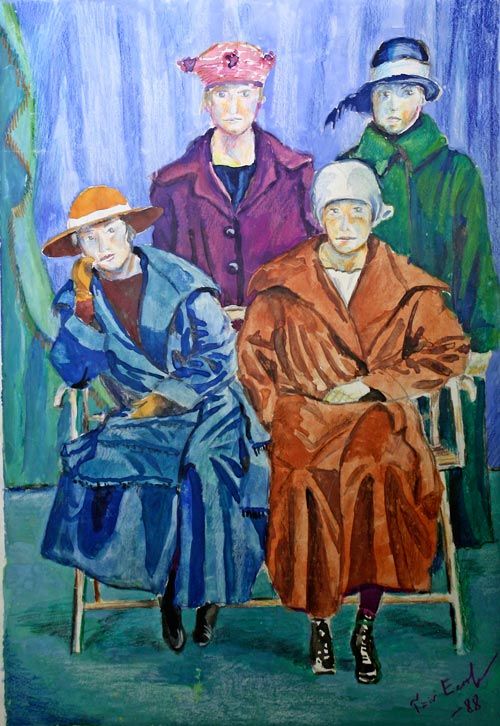 Four girls, a watercolor painting by Paivi from Peony and Parakeet in 1988