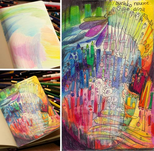 The Sun Always Rises in the Morning, an art journal page by Peony and Parakeet. From fact finding to quick start!