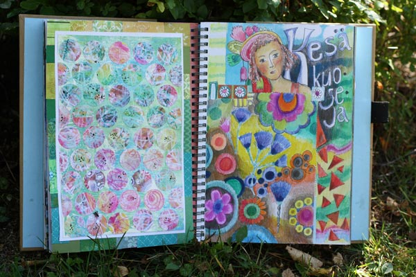 Summer spread in a Smash Book, by Peony and Parakeet