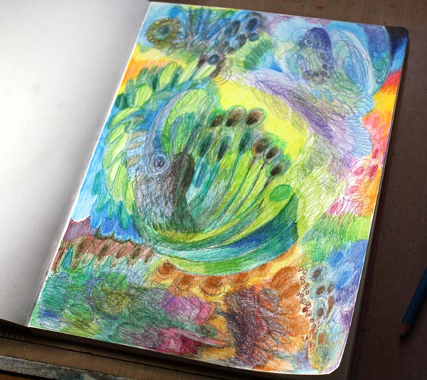 Four easy techniques to express yourself with colored pencils by Peony and Parakeet: work in progress