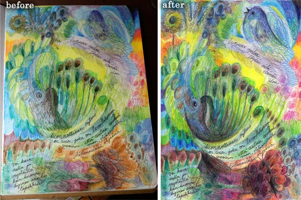 Four easy techniques to express yourself with colored pencils by Peony and Parakeet : before and after final touches