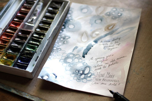 An art journal page in development by Peony and Parakeet. Read about illustrating poems in art journaling!