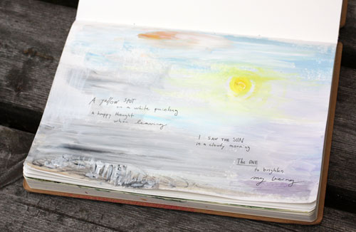 An art journal page by Peony and Parakeet. Read about illustrating poems in art journaling!