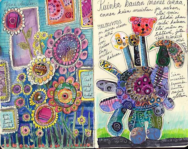 An art journal page spread by Peony and Parakeet. Read more about finding inspiration from children's books.