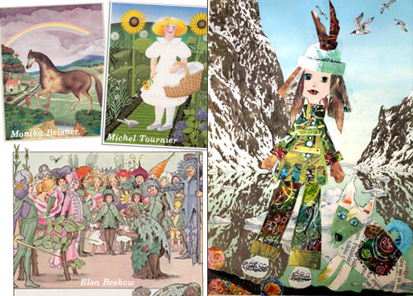 Illustrations from children's book and a collage by Peony and Parakeet. Read more about finding inspiration from children's books.