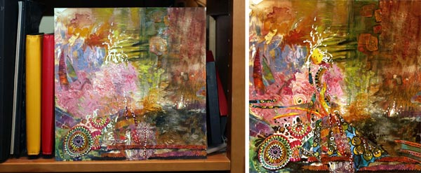 Finishing a collage painting by Peony and Parakeet. Read about how to trust yourself when creating art.