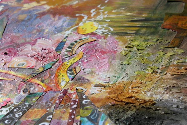 A detail of a collage painting by Peony and Parakeet. Read about how to trust yourself when creating art.