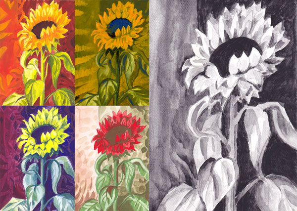 Watercolor sunflowers in various color schemes. By Peony and Parakeet.