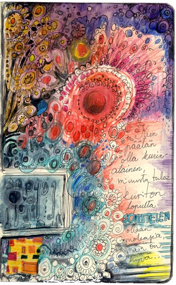 An art journal page by Peony and Parakeet. Read instructions to create this kind of page with only few basic supplies!