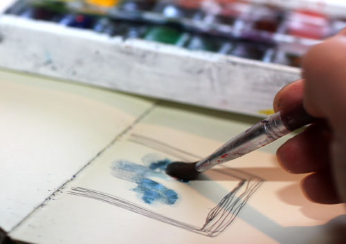 Read instructions to create an art journal page with only few basic supplies!