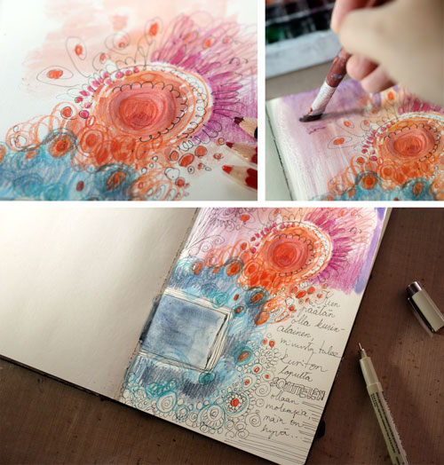 Creating an art journal page by Peony and Parakeet. Read instructions to create an art journal page with only few basic supplies!