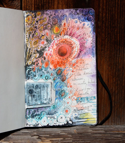 Unfinished art journal page by Peony and Parakeet. Read instructions to create an art journal page with only few basic supplies!