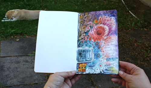 An art journal page by Peony and Parakeet. Read instructions to create an art journal page with only few basic supplies!