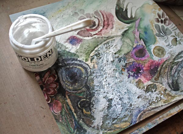 Making of a mixed media collage by Peony and Parakeet. Read more about using fiber paste and imitating gobelin tapestry.