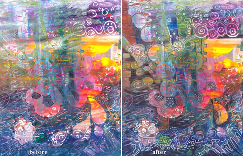 A monoprint before and after decoration by Peony and Parakeet. See 6 tips for using Gelli plate as a tool for self-expression!