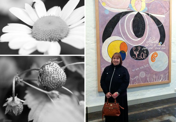 Botanical shapes and Paivi from Peony and Parakeet at the exhibition of Hilma av Klimt