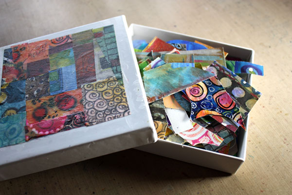 A small box of hand decorated paper scraps. Read about how to create abstract botanical art!