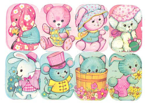Cute vintage scrap pictures. Read more about using pastel colors in art!