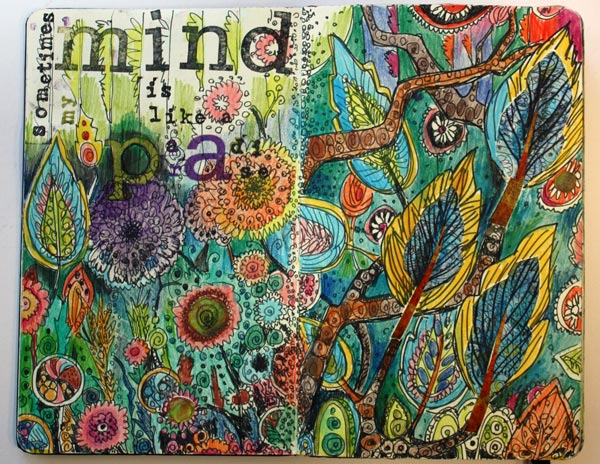 My mind is like a paradise, an art Journal page spread by Peony and Parakeet