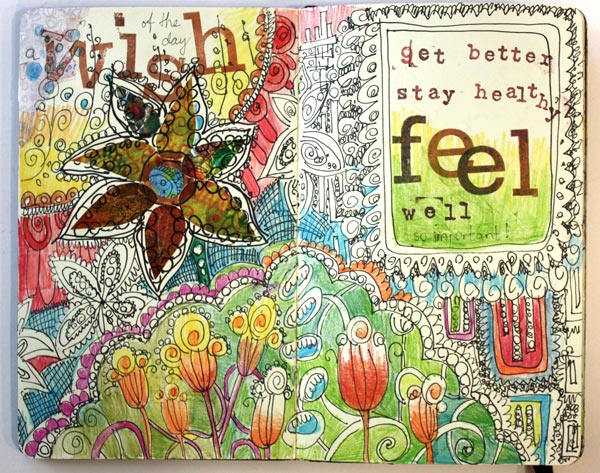 An art Journal page spread by Peony and Parakeet