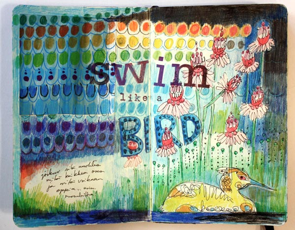 Swim like a bird, an art Journal page spread by Peony and Parakeet