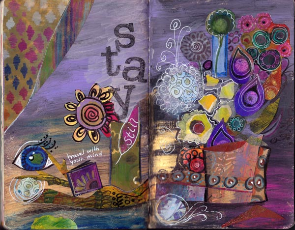 Stay Still, the art journal page spread by Peony and Parakeet