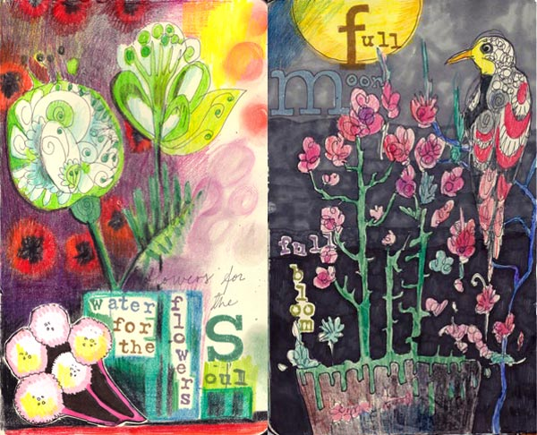 2 art journal pages by Peony and Parakeet