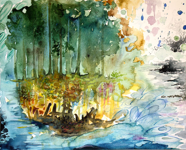 The Forest Speaks, a watercolor painting by Peony and Parakeet