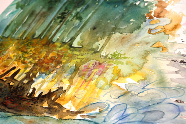 A detail of The Forest Speaks, a watercolor painting by Peony and Parakeet