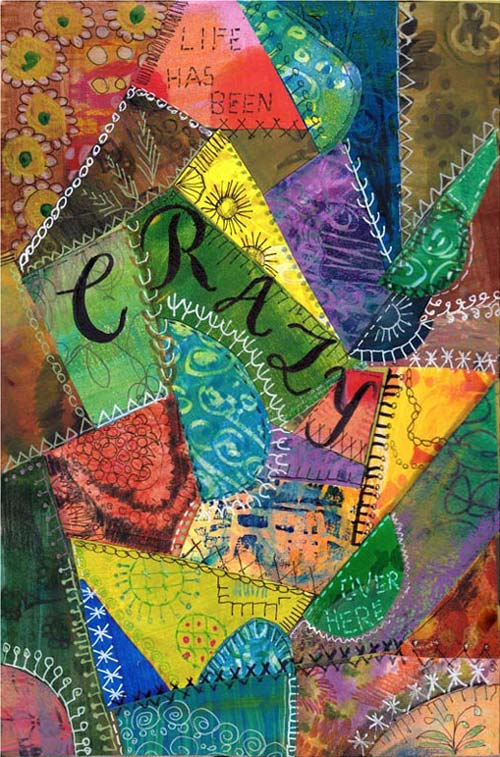 An art journal page inspired by crazy quilting by Peony and Parakeet. A workshop about needlework inspired art journaling is available as a part of 21 Secrets Spring 2015 online course.