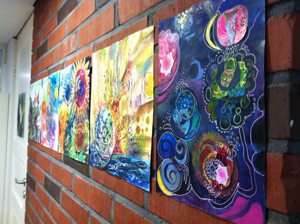 Paintings on the wall at the studio, by Peony and Parakeet. See the video of the studio decorated for the intuitive painting workshop!