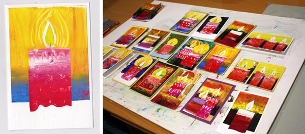 Printing Christmas Cards with a Gelli Plate (make four from the same print!), by Peony and Parakeet