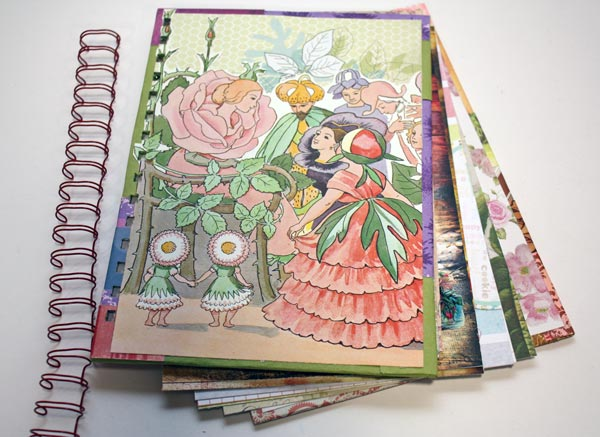 Handmade smash book like journal covered with Elsa Beskow's illustration, by Peony and Parakeet