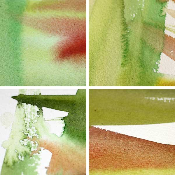 Details from a watercolor background by Peony and Parakeet. Read about using positive self-criticism when creating art!