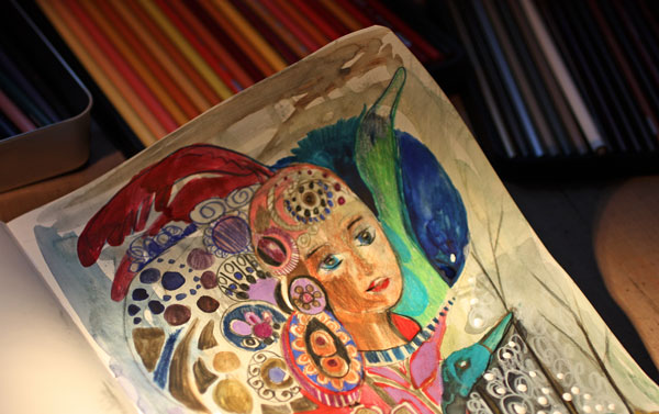 Making of an art journal page, by Peony and Parakeet