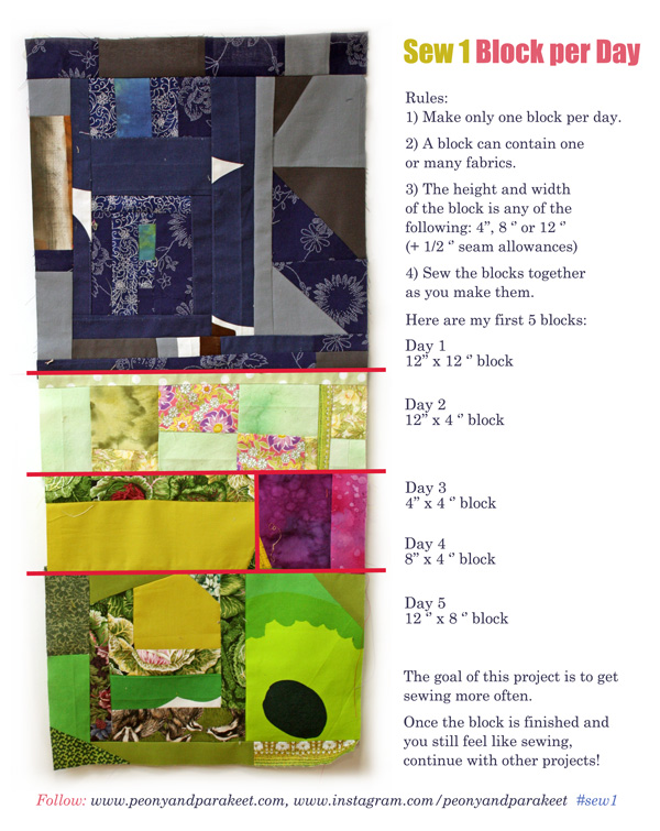 Sew 1 Block per Day, a quilting project by Peony and Parakeet