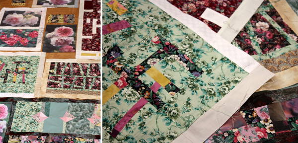 Unfinished quilt project with printed rose photos, by Peony and Parakeet