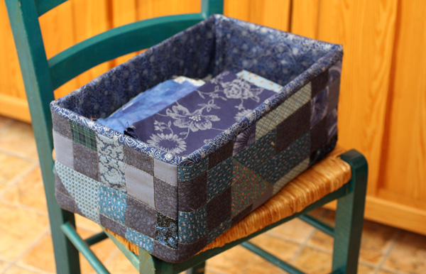 A quilted box, the pattern is published in the book Sunday Morning Quilts
