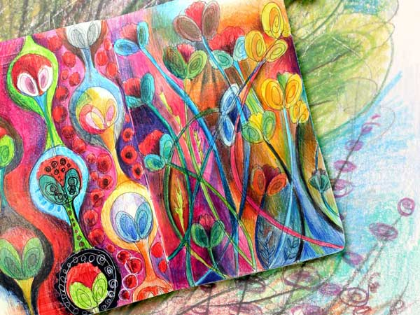 Art journal page by Peony and Parakeet. Read about how to add chaos to improve your art!